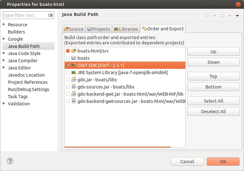 Add GWT to build path
